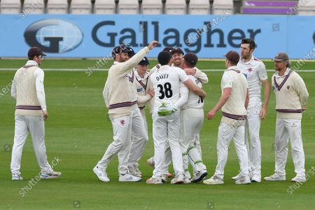 Wicket. 177 - 7. Somerset celebrate after Steve Davies had caught James Vince for 42 off the bowling of Craig Overton during the match between Hampshire County Cricket Club and Somerset County Cricket Club at the Ageas Bowl, Southampton