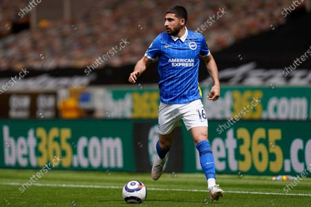 Stock Photo of Brighton's Alireza Jahanbakhsh in action during the English Premier League soccer match between Wolverhampton Wanderers and Brighton & Hove Albion at the Molineux Stadium in Wolverhampton, England