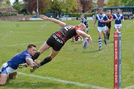 Joe Brown during the Betfred Championship match between Swinton Lions and Bradford Bulls at the Willows, Salford