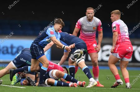 Stock Picture of Jamie Hill of Cardiff Blues gets the ball away.