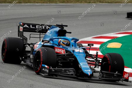 Spanish driver Fernando Alonso of Alpine F1 Team in action during the Spanish Formula One Grand Prix at Montmelo racetrack in Barcelona, Spain, 09 May 2021.