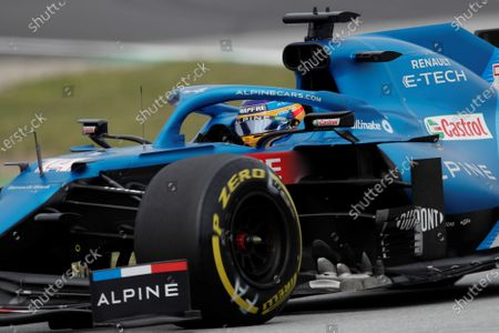 Spanish driver Fernando Alonso of Alpine F1 in action during the Spanish Formula One Grand Prix at Montmelo racetrack in Barcelona, Spain, 09 May 2021.