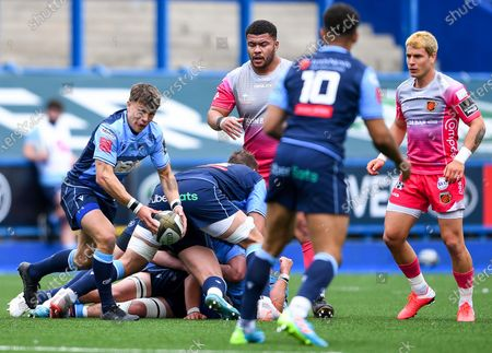 Stock Photo of Cardiff Blues vs Dragons. Cardiff's Jamie Hill