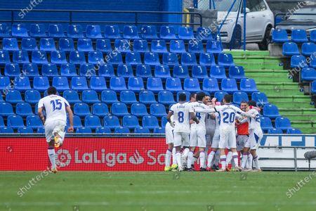 "Jose Luis Garcia del Pozo ""Recio"" of Eibar celebrates a goal during La Liga football match played between Getafe CF and SD Eibar at Coliseum Alfonso Perez on May 09, 2021 in Getafe, Madrid, Spain."