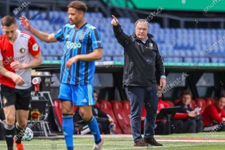 Stock Picture of Feyenoord's coach Dick Advocaat during the Dutch Eredivisie soccer match between Feyenoord and Ajax in Rotterdam, the Netherlands, 09 May 2021.