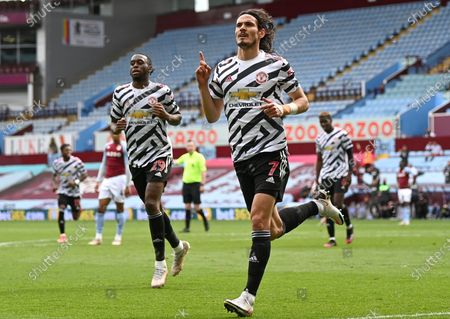 Edinson Cavani (C) of Manchester United celebrates after scoring the 3-1 lead during the English Premier League soccer match between Aston Villa and Manchester United in Birmingham, Britain, 09 May 2021.