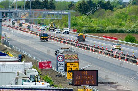 Editorial picture of M4 Closure, Smart Motorway Digital Upgrade, Taplow, Buckinghamshire, UK - 09 May 2021