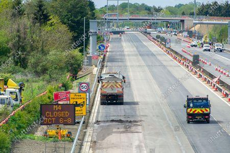 Editorial image of M4 Closure, Smart Motorway Digital Upgrade, Taplow, Buckinghamshire, UK - 09 May 2021