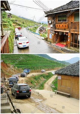 """(210509) - GUIYANG, May 9, 2021 (Xinhua) - In this combo photo, tourists park their cars along the newly-paved road in Jiabang terraced fields in Congjiang County, southwest China's Guizhou Province, May 4, 2021 (upper, photo taken by Yang Wenbin), and tourists drive cars on an unsurfaced road in Jiabang terraced fields 2011 (photo taken by Mo Xiaoshu).  The terraces with a blanket of cloud and mist on most mornings. The dreamy landscape is what you can fancy and find in pictures snapped by Mo Xiaoshu.  Mo, a 39-year-old civil servant, has taken more than 100,000 photos recording Jiabang terraced fields in Congjiang County in the past 13 years. His work went viral online and attracted bevies of shutterbugs to visit the rice terraces.  Jiabang has something special - fish and ducks are also raised in the fields to form a unique agricultural system that has been listed in the Globally Important Agricultural Heritage Systems by the Food and Agriculture Organization of the United Nations.  The images Mo yielded also illustrate the profound changes in the terraces and lives of people there. Access to paved roads has been realized in recent years, reinforcing connections between locals and people from the outside, and boosting local tourism revenue.  """"Great changes have taken place in the region. I want to document Jiabang imperishably through my lens,"""" Mo said."""