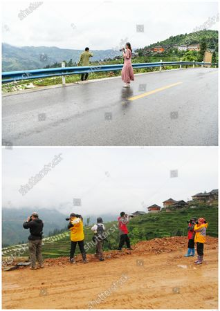 """(210509) - GUIYANG, May 9, 2021 (Xinhua) - In this combo photo, tourists take pictures of Jiabang terraced fields along the newly-paved road in Congjiang County, southwest China's Guizhou Province, May 4, 2021 (upper, photo taken by Yang Wenbin), and tourists snap the terraced fields with their cameras on an unsurfaced road in 2011 (2011) photo taken by Mo Xiaoshu).  The terraces with a blanket of cloud and mist on most mornings. The dreamy landscape is what you can fancy and find in pictures snapped by Mo Xiaoshu.  Mo, a 39-year-old civil servant, has taken more than 100,000 photos recording Jiabang terraced fields in Congjiang County in the past 13 years. His work went viral online and attracted bevies of shutterbugs to visit the rice terraces.  Jiabang has something special - fish and ducks are also raised in the fields to form a unique agricultural system that has been listed in the Globally Important Agricultural Heritage Systems by the Food and Agriculture Organization of the United Nations.  The images Mo yielded also illustrate the profound changes in the terraces and lives of people there. Access to paved roads has been realized in recent years, reinforcing connections between locals and people from the outside, and boosting local tourism revenue.  """"Great changes have taken place in the region. I want to document Jiabang imperishably through my lens,"""" Mo said."""