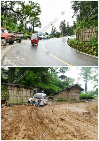 """(210509) - GUIYANG, May 9, 2021 (Xinhua) - In this combo photo, a villager rides a tricycle along the newly-paved road in Jiabang terraced fields in Congjiang County, southwest China's Guizhou Province, May 4, 2021 (upper, photo taken by Yang Wenbin), and villagers help a car proceed on a muddy road in Jiababang Terraced fields in 2011 (pictured by Mo Xiaoshu ).  The terraces with a blanket of cloud and mist on most mornings. The dreamy landscape is what you can fancy and find in pictures snapped by Mo Xiaoshu.  Mo, a 39-year-old civil servant, has taken more than 100,000 photos recording Jiabang terraced fields in Congjiang County in the past 13 years. His work went viral online and attracted bevies of shutterbugs to visit the rice terraces.  Jiabang has something special - fish and ducks are also raised in the fields to form a unique agricultural system that has been listed in the Globally Important Agricultural Heritage Systems by the Food and Agriculture Organization of the United Nations.  The images Mo yielded also illustrate the profound changes in the terraces and lives of people there. Access to paved roads has been realized in recent years, reinforcing connections between locals and people from the outside, and boosting local tourism revenue.  """"Great changes have taken place in the region. I want to document Jiabang imperishably through my lens,"""" Mo said."""
