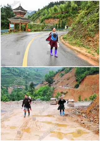 """(210509) - GUIYANG, May 9, 2021 (Xinhua) - In this combo photo, a villager walks along the newly-paved road in Jiabang terraced fields in Congjiang County, southwest China's Guizhou Province, May 4, 2021 (upper, photo taken by Yang Wenbin), and villagers trek along an unsurfaced road in Jiabang terraced fields in 2011 (photo taken by Mo Xiaoshu).  The terraces with a blanket of cloud and mist on most mornings. The dreamy landscape is what you can fancy and find in pictures snapped by Mo Xiaoshu.  Mo, a 39-year-old civil servant, has taken more than 100,000 photos recording Jiabang terraced fields in Congjiang County in the past 13 years. His work went viral online and attracted bevies of shutterbugs to visit the rice terraces.  Jiabang has something special - fish and ducks are also raised in the fields to form a unique agricultural system that has been listed in the Globally Important Agricultural Heritage Systems by the Food and Agriculture Organization of the United Nations.  The images Mo yielded also illustrate the profound changes in the terraces and lives of people there. Access to paved roads has been realized in recent years, reinforcing connections between locals and people from the outside, and boosting local tourism revenue.  """"Great changes have taken place in the region. I want to document Jiabang imperishably through my lens,"""" Mo said."""