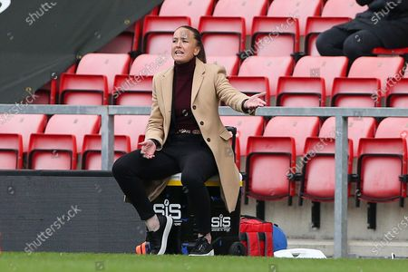 Manchester United Manager Casey Stoney  gestures during the FA Women's Super League match between Manchester United Women and Everton Women at Leigh Sports Village, Leigh