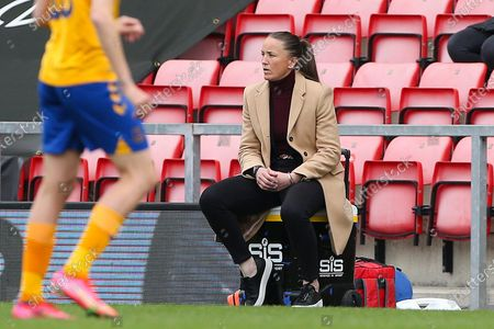Manchester United Manager Casey Stoney  during the FA Women's Super League match between Manchester United Women and Everton Women at Leigh Sports Village, Leigh