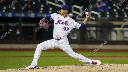Stock Image of New York Mets pitcher Joey Lucchesi (47) throws against the Arizona Diamondbacks in the third inning of a baseball game, in New York