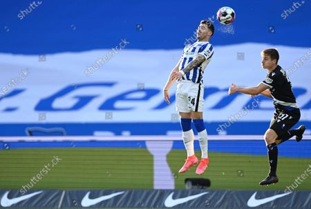 Stock Picture of Hertha's Nemanja Radonjic, left, and Bielefeld's Cedric Brunner in action during the German Bundesliga soccer match between Hertha BSC and Arminia Bielefeld at Olympiastadion in Berlin