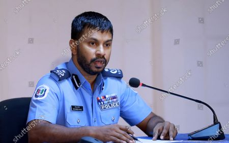 Maldives' assistant commissioner of police Mohamed Riyaz addresses a press conference on the blast targeting former president and current parliament speaker Mohamed Nasheed in Male, Maldives, 09 May 2021. Nasheed was injured in a blast outside his family home on 06 May and was admitted to hospital in critical condition.