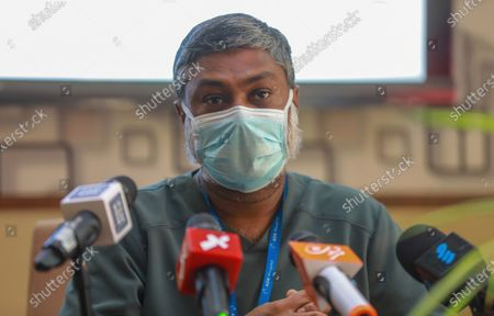 Maldives leading surgeon Dr. Abdullah Niyaf who is leading medical team treating former president and current parliament speaker Mohamed Nasheed addresses a press conference in Male, Maldives, 09 May 2021. Nasheed was injured in a blast outside his family home on 06 May and was admitted to hospital in critical condition.