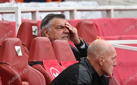 West Bromwich Albion's manager Sam Allardyce reacts during the English Premier League soccer match between Arsenal and West Bromwich Albion at the Emirates Stadium in London, England