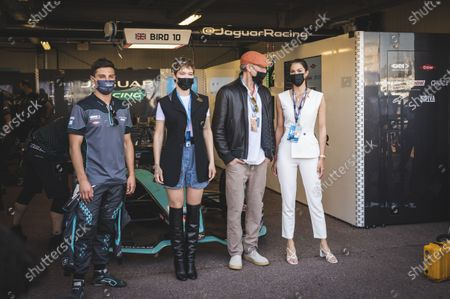 The French actress Lea Seydoux and the French actor Vincent Cassel accompanied by Iris Mittenaere and Mitch Evans, driver of the Jaguar team, during the Formula Electric Race of Monaco, within the framework of the FIA FORMULA E championship