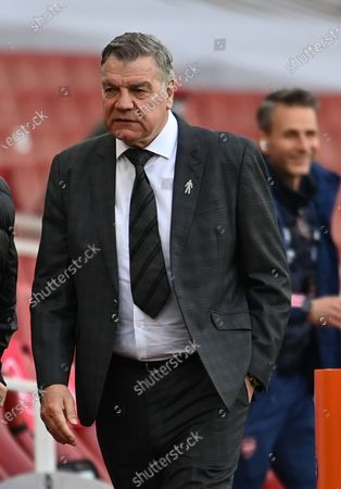 West Bromwich manager Sam Allardyce reacts before the English Premier League soccer match between Arsenal FC and West Bromwich Albion in London, Britain, 09 May 2021.