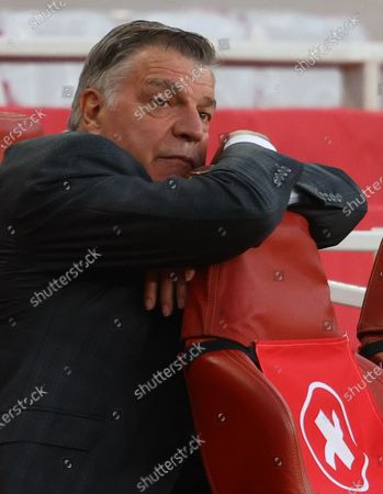 West Bromwich manager Sam Allardyce reacts during the English Premier League soccer match between Arsenal FC and West Bromwich Albion in London, Britain, 09 May 2021.