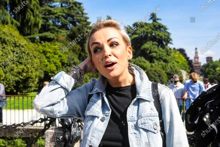 Stock Photo of Francesca Pascale attends the Demonstration To Approve Zan DDL which aims to protect verbal and physical aggression towards homosexuals and disabled people, Milano on May 8, 202