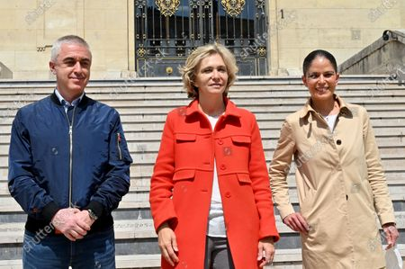 Stock Photo of Valerie Pecresse is campaigning for her re-election to the presidency of the Ile-de-France region on the march of Asnieres-sur-Seine, along with the mayor of the city Manuel Aeschlimann and his wife Marie-Dominique Aeschlimann