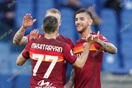Henrikh Mkhitaryan of AS Roma celebrates after scoring fourth goal during the Serie A match between AS Roma and FC Crotone at Stadio Olimpico, Rome, Italy on 9 May 2021