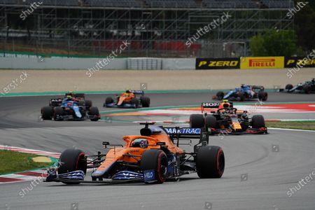 Daniel Ricciardo (AUS #3), McLaren F1 Team, Sergio Perez (MEX #11), Red Bull Racing Honda, Esteban Ocon (FRA #31), Alpine F1 Team, Carlos Sainz Jr. (ESP #55), Scuderia Ferrari Mission Winnow, Lando Norris (GBR #4), McLaren F1 Team, Fernando Alonso (ESP #14), Alpine F1 Team