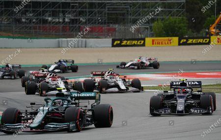 Sebastian Vettel (DEU #5), Aston Martin Cognizant Formula One Team, Pierre Gasly (FRA #10), Scuderia AlphaTauri Honda, Antonio Giovinazzi (ITA #99), Alfa Romeo Racing ORLEN, Kimi Raikkonen (FIN #7), Alfa Romeo Racing Orlen