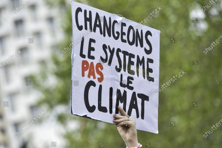 """Stock Image of The """"After March"""" brought together more than 2,000 people on Sunday, May 9, 2021 at the beginning of noon. The appeal was launched by associations and collectives dissatisfied with the content of the Climate and Resilience bill, voted in the National Assembly this week. Left from the Francois-Mitterrand mail, the cortege went on the streets before taking a break at Champs Libres, then resuming his road to Avenue Janvier. The demonstrators fled quietly as gendarmes were positioned at the entrants of the historic centre. The demonstration was back at its starting point shortly after 4:00 p.m."""