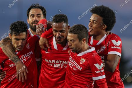 "Fernando Francisco Reges of Sevilla celebrates a goal with Jesus Navas, Jesus Joaquin Fernandez Saez de la Torre ""Suso"", Papu Gomez and Jules Kounde during La Liga football match played between Real Madrid CF and Sevilla FC at Alfredo di Stefano stadium on May 09, 2021 in Madrid, Spain."