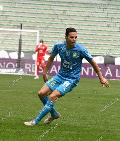 French Florian Thauvin Olympique Marseille during the French L1 football match between AS Saint-Etienne (ASSE) and Olympique de Marseille (OM) at the Geoffroy Guichard stadium in Saint-Etienne on May 9, 2021.