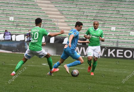 French Florian Thauvin olympic Marseille during the French L1 football match between AS Saint-Etienne (ASSE) and Olympique de Marseille (OM) at the Geoffroy Guichard stadium in Saint-Etienne on May 9, 2021.