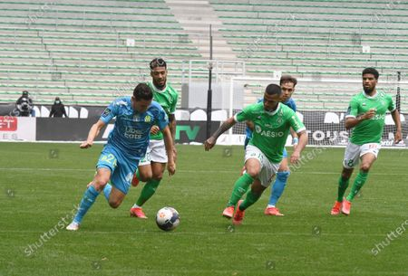 Stock Image of French Florian Thauvin olympic Marseille during the French L1 football match between AS Saint-Etienne (ASSE) and Olympique de Marseille (OM) at the Geoffroy Guichard stadium in Saint-Etienne on May 9, 2021.