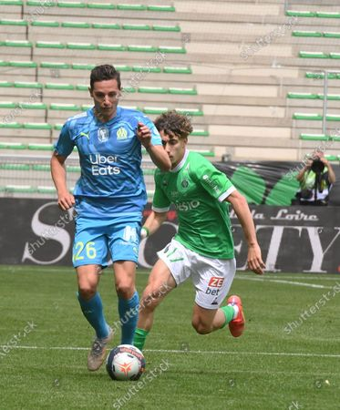 Stock Photo of French Florian Thauvin olympic Marseille during the French L1 football match between AS Saint-Etienne (ASSE) and Olympique de Marseille (OM) at the Geoffroy Guichard stadium in Saint-Etienne on May 9, 2021.