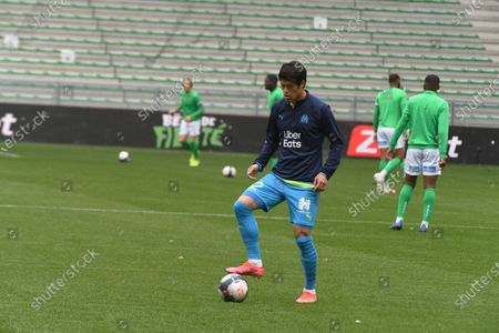 Sakai Hiroki olympic Marseille during the French L1 football match between AS Saint-Etienne (ASSE) and Olympique de Marseille (OM) at the Geoffroy Guichard stadium in Saint-Etienne on May 9, 2021.