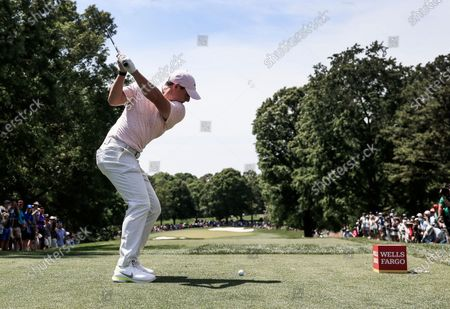 Rory McIlroy of Northern Ireland hits his tee shot on the sixth hole during the fourth round of the Wells Fargo Championship golf tournament at Quail Hollow Club in Charlotte, North Carolina, USA, 09 May 2021.