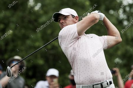 Rory McIlroy of Northern Ireland hits his tee shot on the eighteenth hole in the fourth round of the Wells Fargo Championship golf tournament at Quail Hollow Club in Charlotte, North Carolina, USA, 09 May 2021. McIlroy won the tournament with a score of 10 under par.