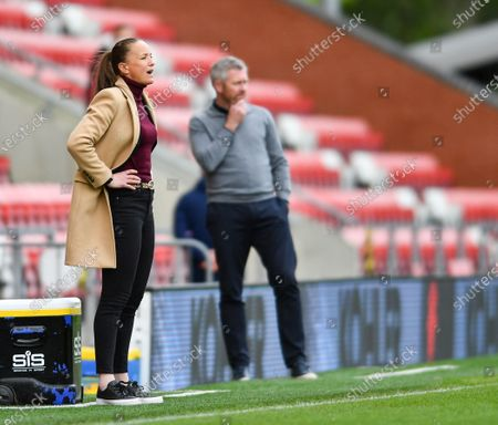 Casey Stoney (Manchester United Manager) reacts