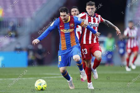 "Lionel Messi (Barcelona), Kieran Trippier (Atletico) - Football / Soccer : Spanish ""La Liga Santander"" match between FC Barcelona 0-0 Atletico de Madrid at the Camp Nou stadium in Barcelona, Spain."
