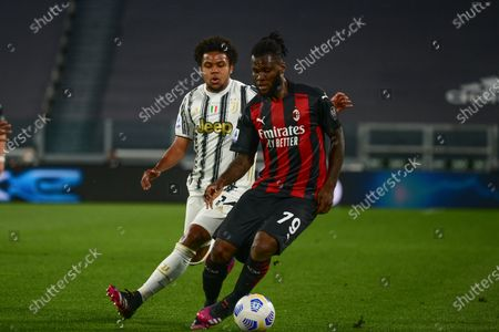 Weston Mckennie of Juventus FC and Franck Kessie of AC Milan during the Serie A football match between Juventus FC and AC Milan. Sporting stadiums around Italy remain under strict restrictions due to the Coronavirus Pandemic as Government social distancing laws prohibit fans inside venues resulting in games being played behind closed doors. Milan won 0-3 over Juventus
