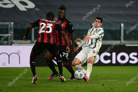 Alvaro Morata of Juventus FC and Franck Kessie of AC Milanduring the Serie A football match between Juventus FC and AC Milan. Sporting stadiums around Italy remain under strict restrictions due to the Coronavirus Pandemic as Government social distancing laws prohibit fans inside venues resulting in games being played behind closed doors. Milan won 0-3 over Juventus