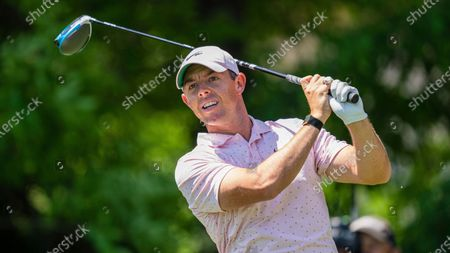Rory McIlroy tees off on the seventh hole during the fourth round of the Wells Fargo Championship golf tournament at Quail Hollow, in Charlotte, N.C