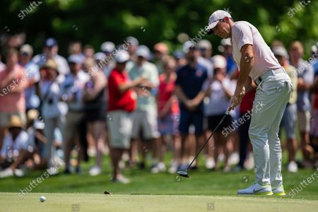 Rory McIlroy watches his putt on the sixth hole during the fourth round of the Wells Fargo Championship golf tournament at Quail Hollow, in Charlotte, N.C