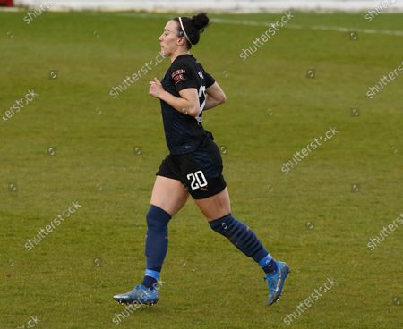 Lucy Bronze of Manchester City WFC   during  Barclays FA Women's Super League  match between West Ham United Women and Manchester City  at The Chigwell Construction Stadium  on 25th April  , 2021 in Dagenham, England