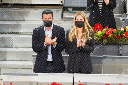 Stock Photo of Luis Figo and  Helen Svedin attended the 2021 ATP Tour Madrid Open tennis match at the Caja Magica in Madrid on May 9, 2021 spain