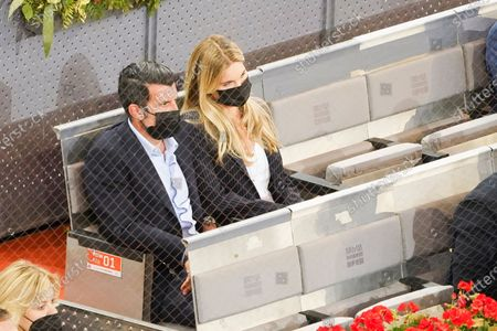 Luis Figo and  Helen Svedin attended the 2021 ATP Tour Madrid Open tennis match at the Caja Magica in Madrid on May 9, 2021 spain