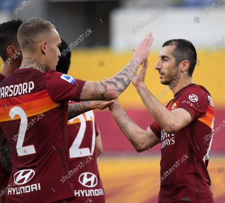 (210510) - ROME, May 10, 2021 (Xinhua) - Roma's Henrikh Mkhitaryan (R) celebrates his goal during a Serie A soccer match between Roma and Crotone in Rome, Italy, May 9, 2021.